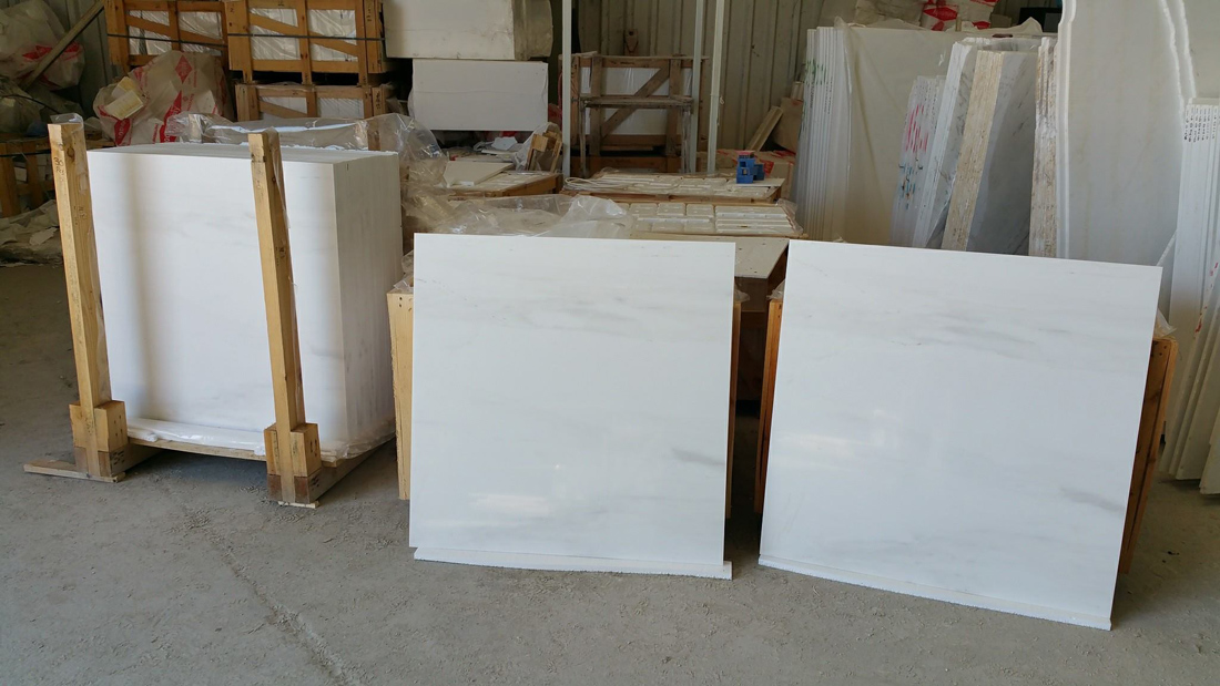 Polished Arctic White Marble Tiles from Greece