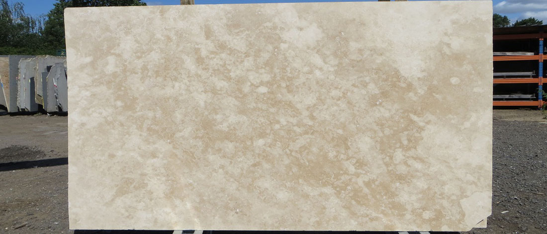 Polished Beige Travertine Cross Cut Slabs