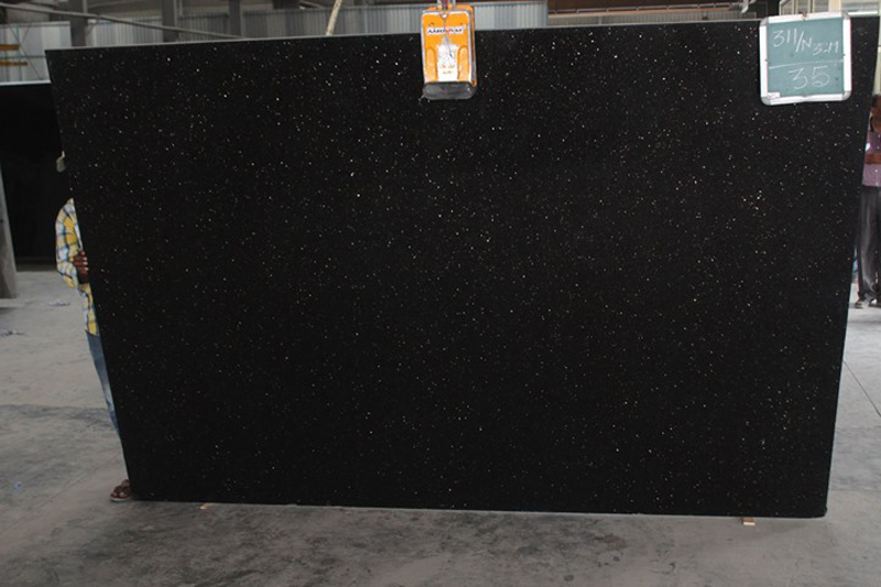 Polished Black Galaxy Granite Slabs Black Granite Slabs from India