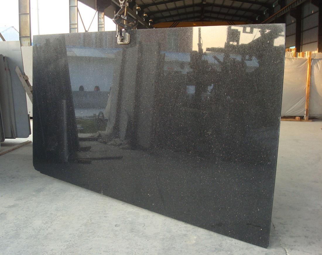 Polished Black Galaxy Granite Slabs Indian Granite Stone Slabs