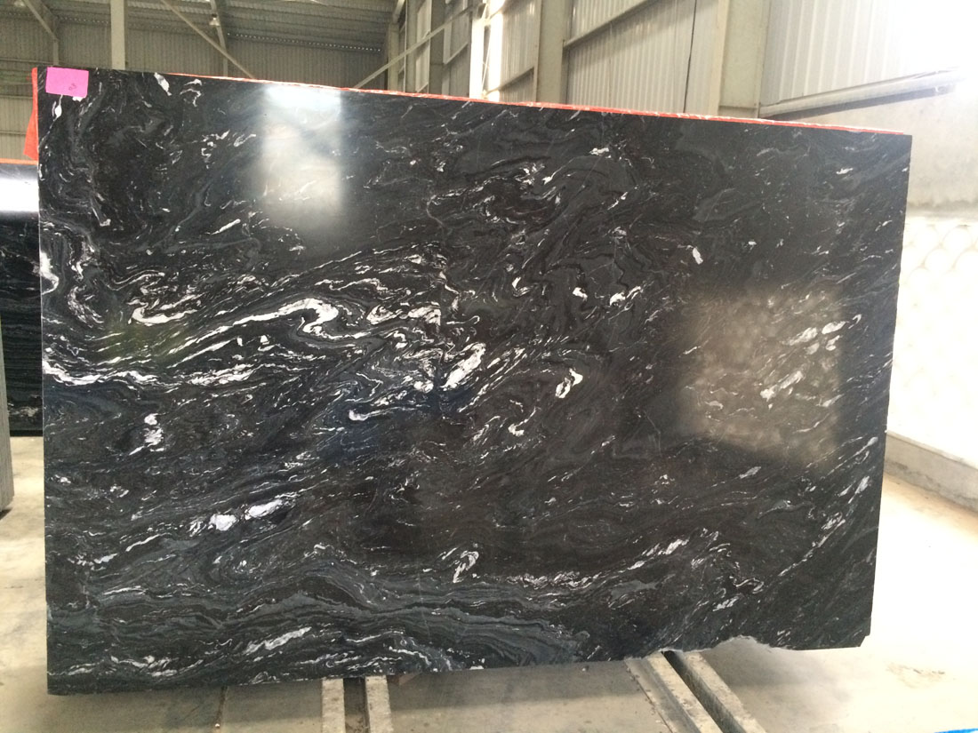 Polished Black Fantasy Marble Slabs
