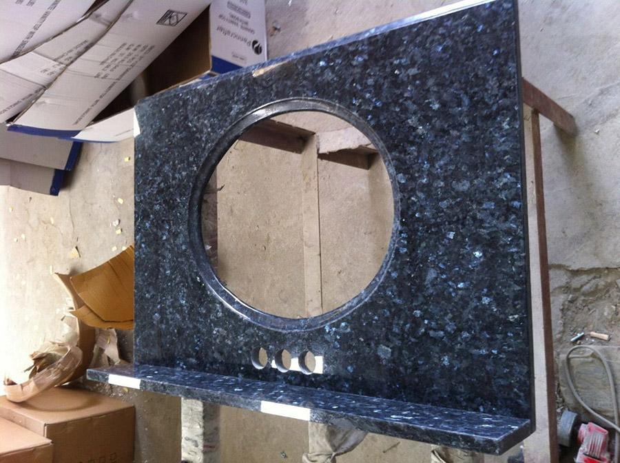 Polished Blue Pearl Granite Vanity Top