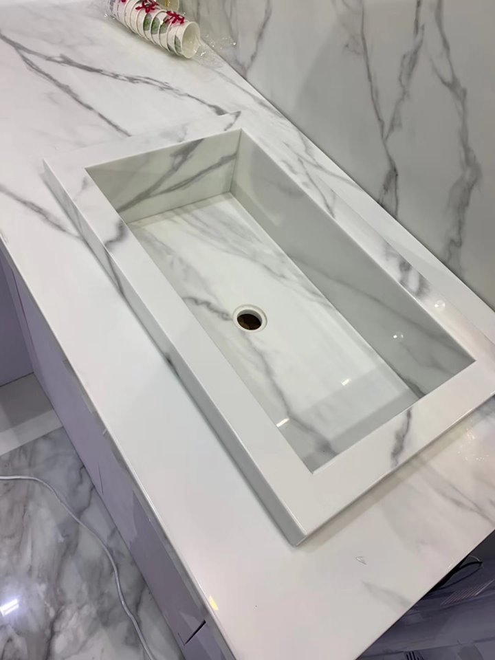 Polished Calculate White Quartz Sink