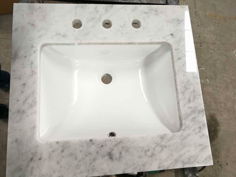 Polished Carrara White Marble Vanity Tops with Sinks