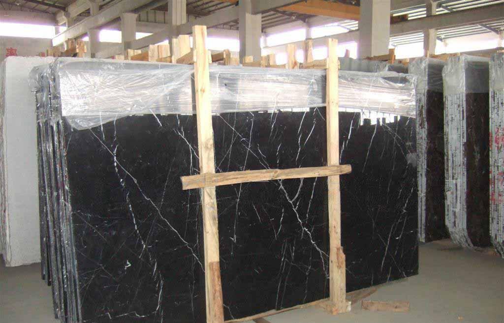 Polished Chinese Black Marble Slabs Nero Marquina Marble Slabs