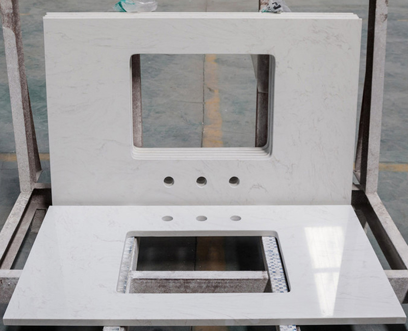 Polished Chinese White Quartz Bathroom Vanity Tops