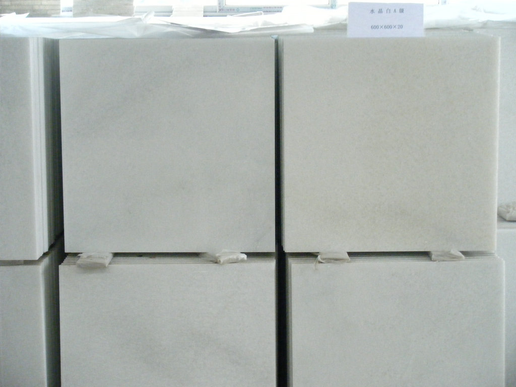 Polished Crystal White Marble Tiles White Marble Stone Tiles