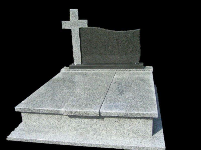 Polished Grey Granite Tombstone