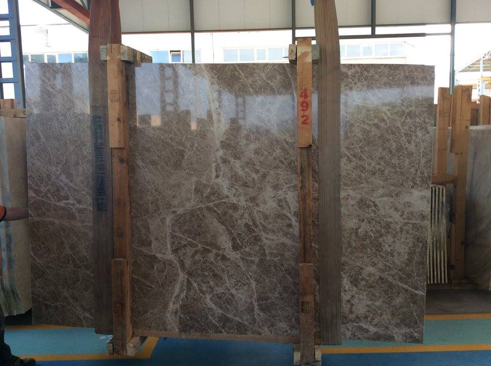Polished Light Emperador Slabs