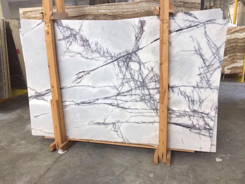 Polished Lilac Slabs White Turkish Marble Slabs