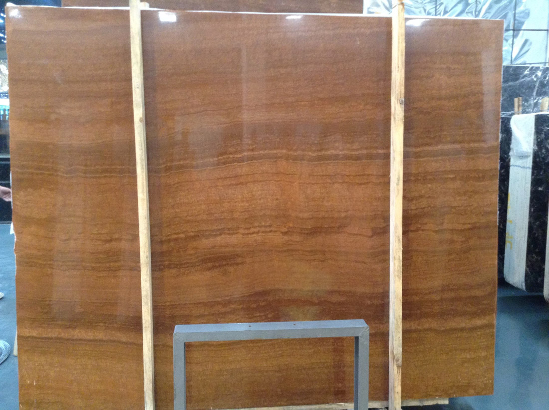 Polished Marble Stone Slabs Yellow Wooden Slabs