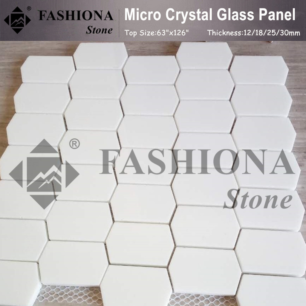 Polished Micro Crystal Glass Stone White Mosaic
