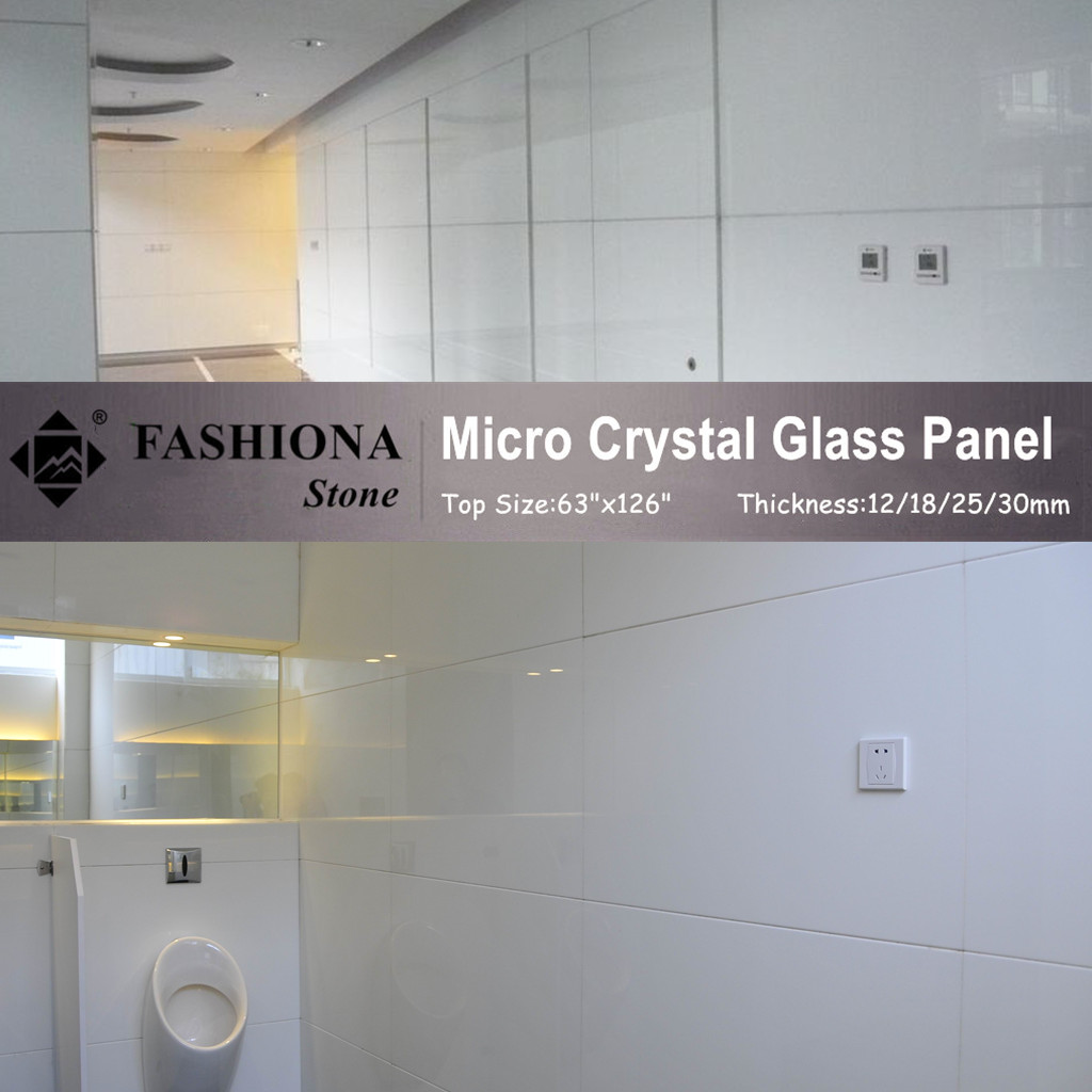 Polished Micro Crystal Glass Stone White Walling Tiles