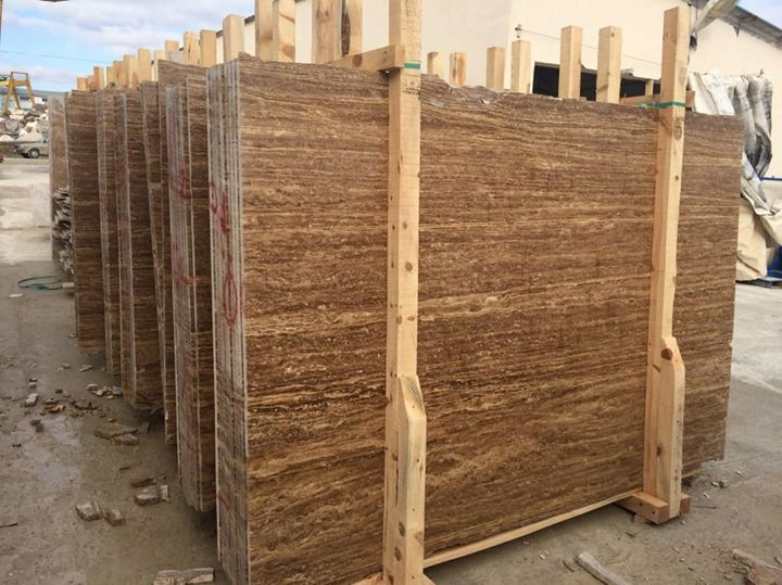 Polished Noce Brown Travertine Slabs