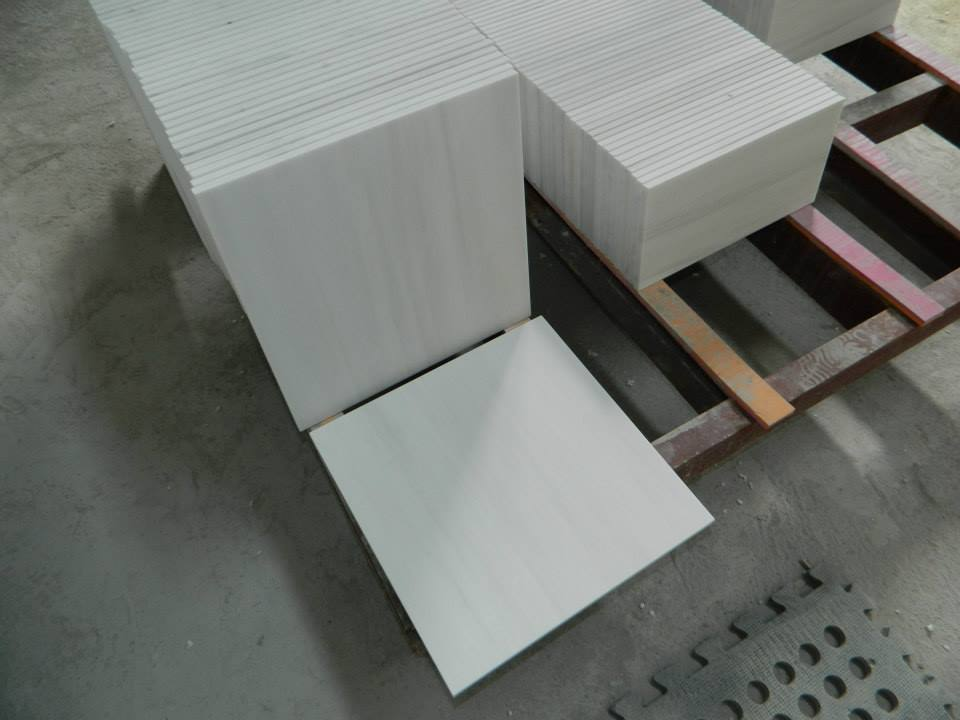 Polished Pure White Marble Flooring Tiles