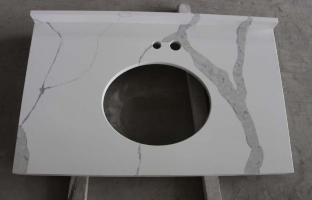 Polished Quartz Vanity Tops White Artificial Stone Countertops