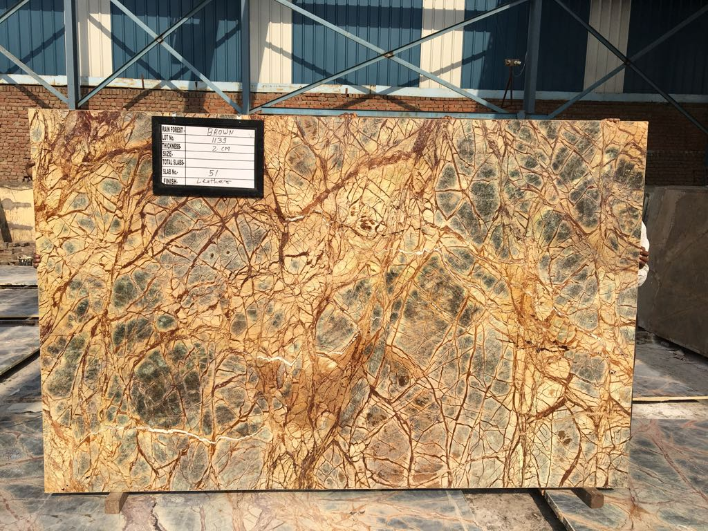Polished Rainforest Brown Marble Slabs