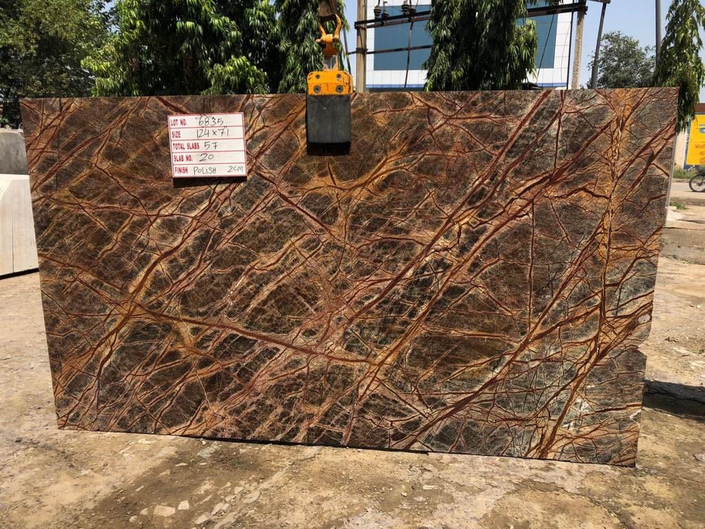 Polished Rainforest Brown Slab from India