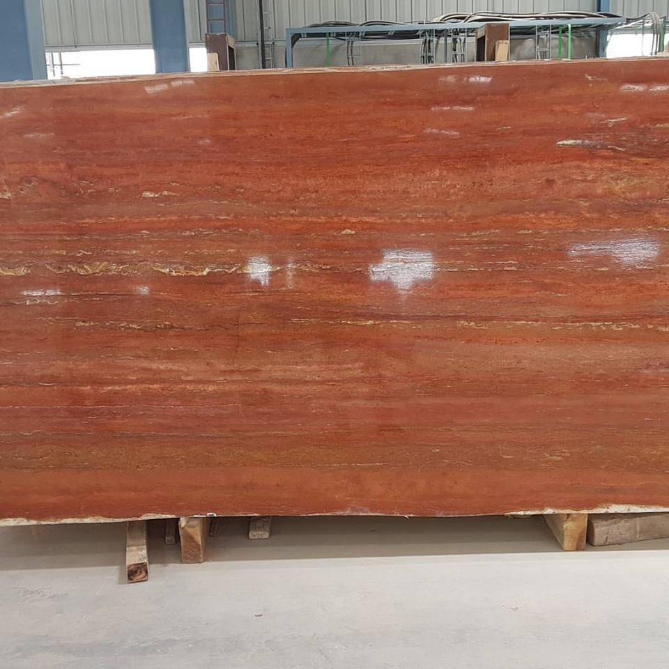 Polished Red Travertine Slabs