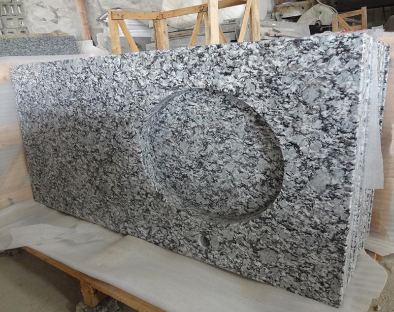 Polished Spray White Granite Vanity Tops for Bathroom