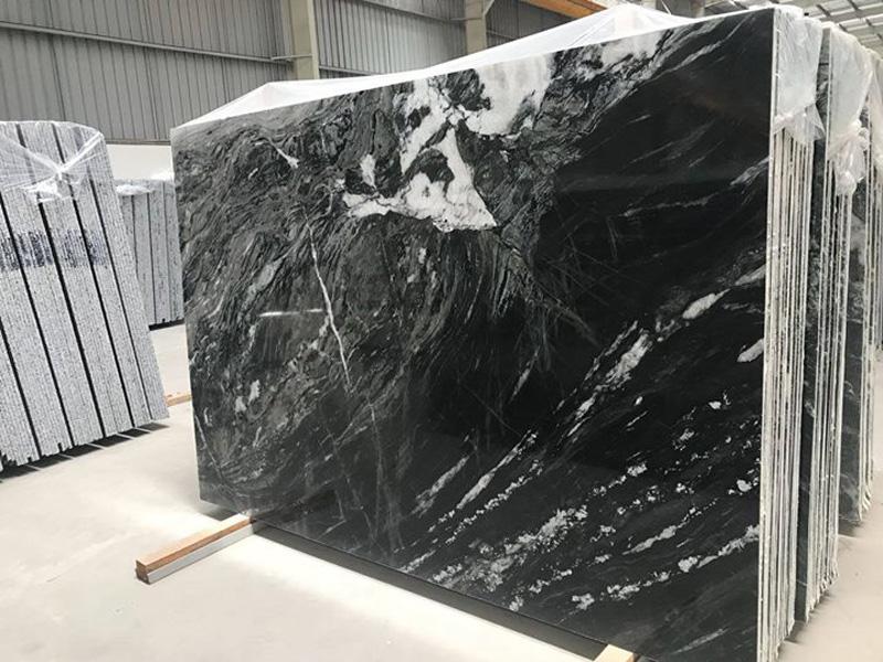 Polished Vintage Black Granite Indian Granite Slabs