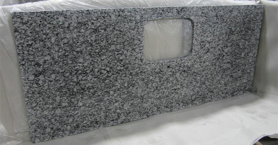 Polished Wave White Granite Kitchen Countertops