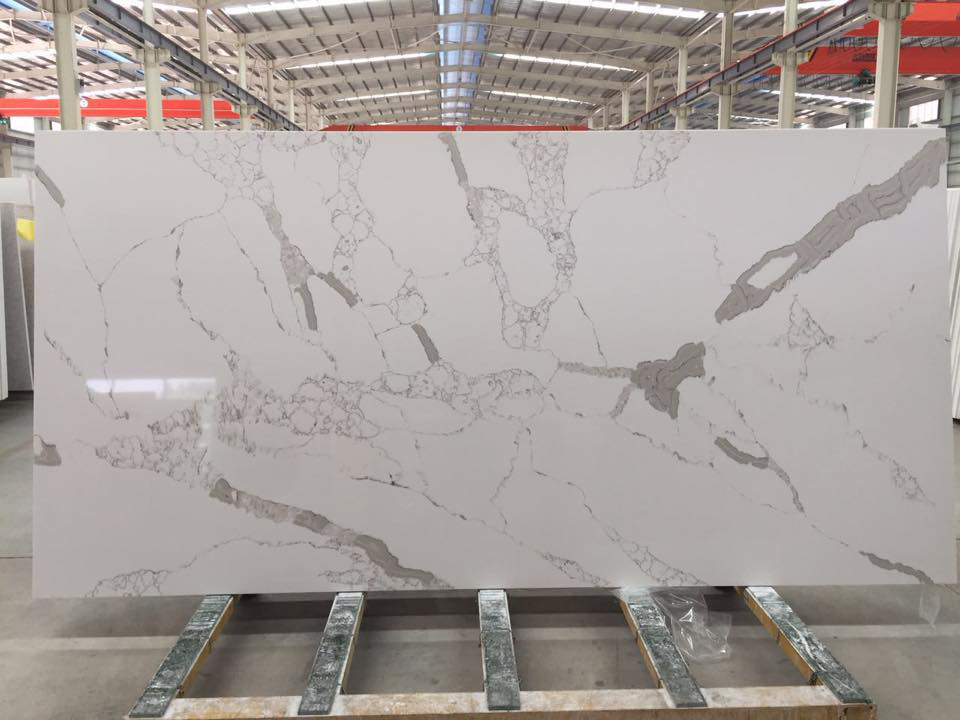 Polished White Artificial Stone Slabs Quartz Slabs