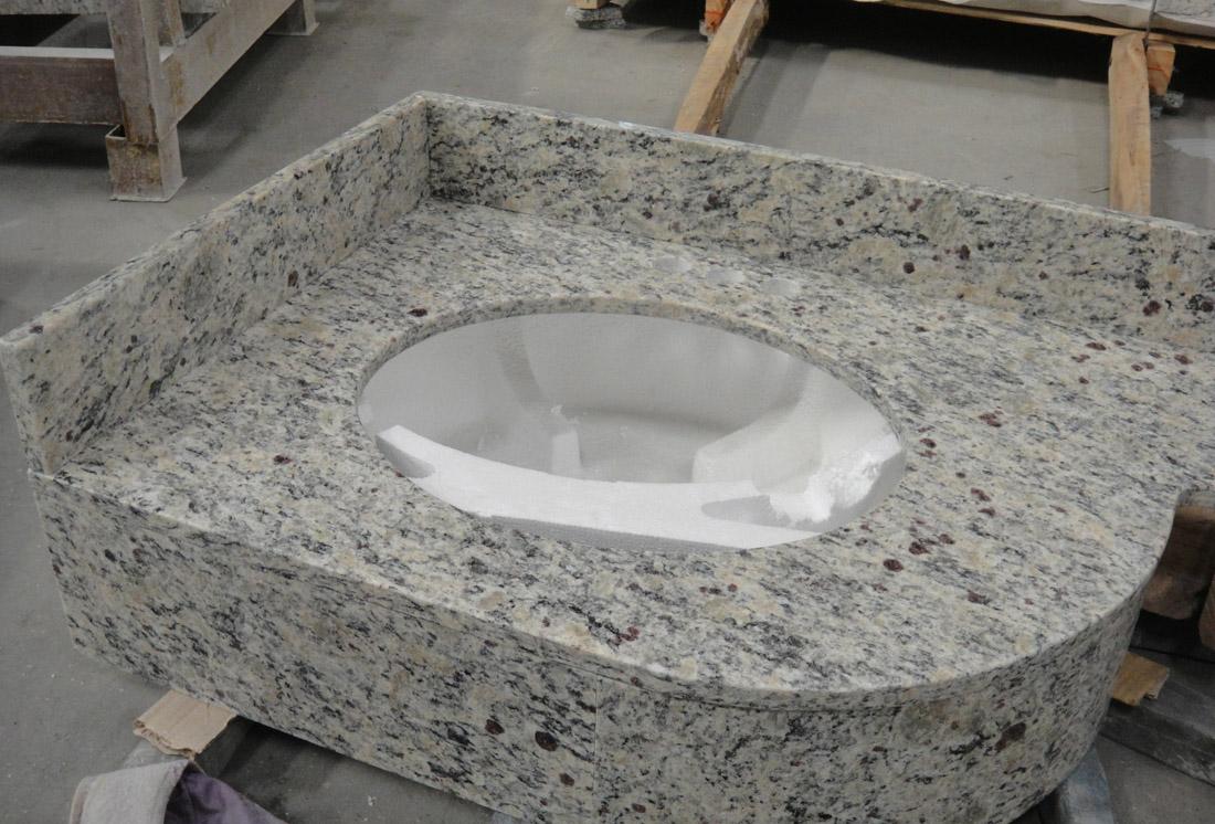 Polished White Giallo Cecilia Granite Vantity Tops