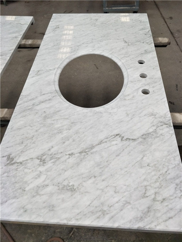 Polished White Marble Bathroom Vanity Tops