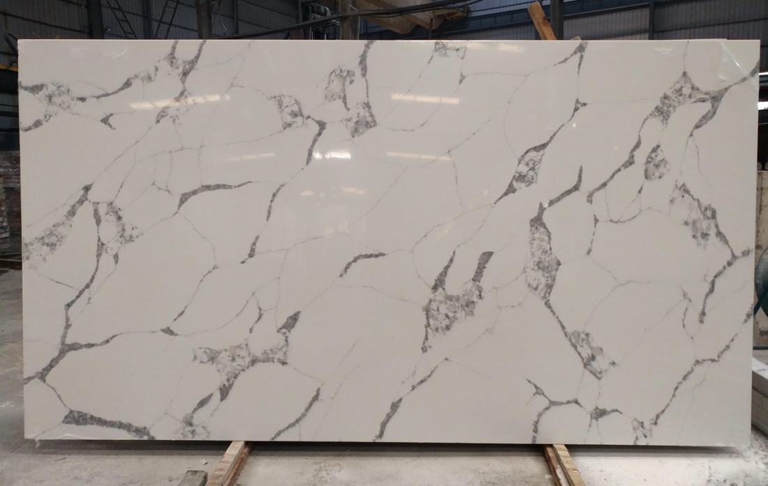 Polished White Quartz Slabs Chinese White Artificial Stone Slabs