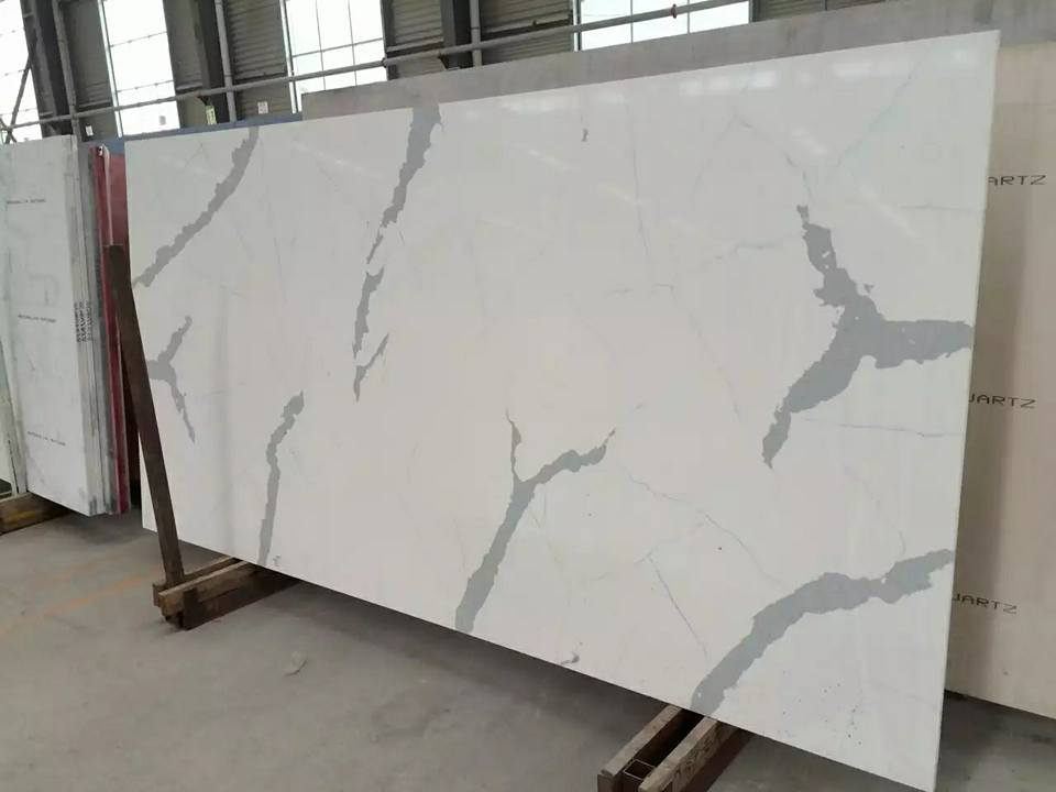 Polished White Quartz Slabs for Countertops