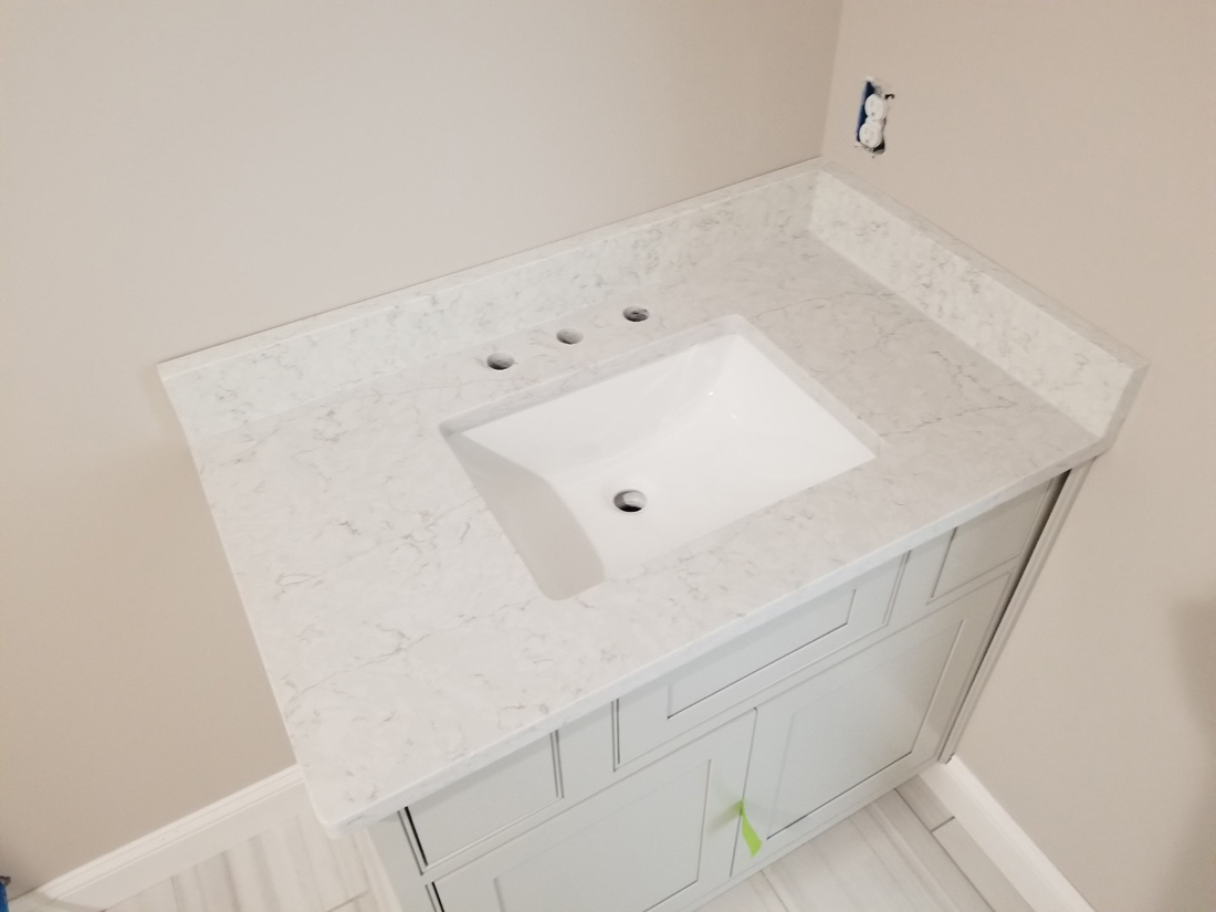 Polished White Quartz Vanity Tops for Bathroom