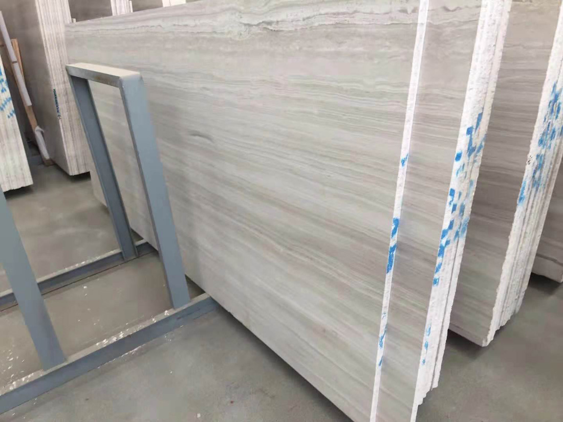 Polished White Wood Grain Marble Slabs