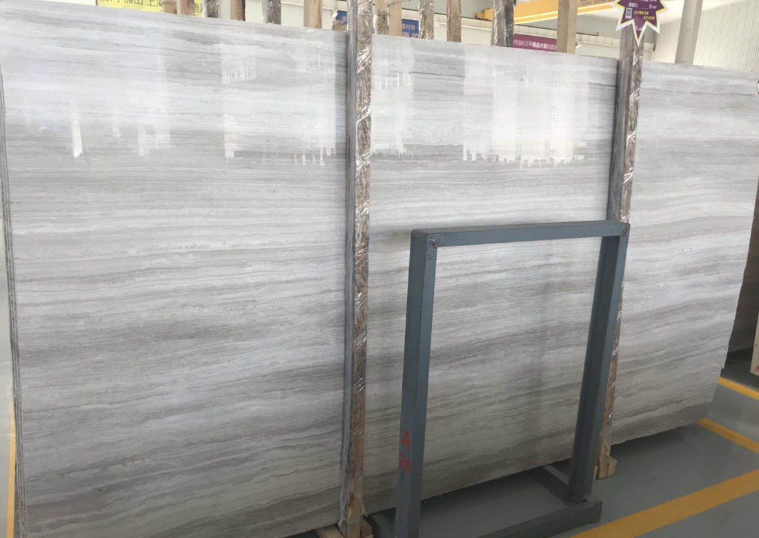 Polished White Wood Vein Marble Slabs Chinese White Marble Slabs
