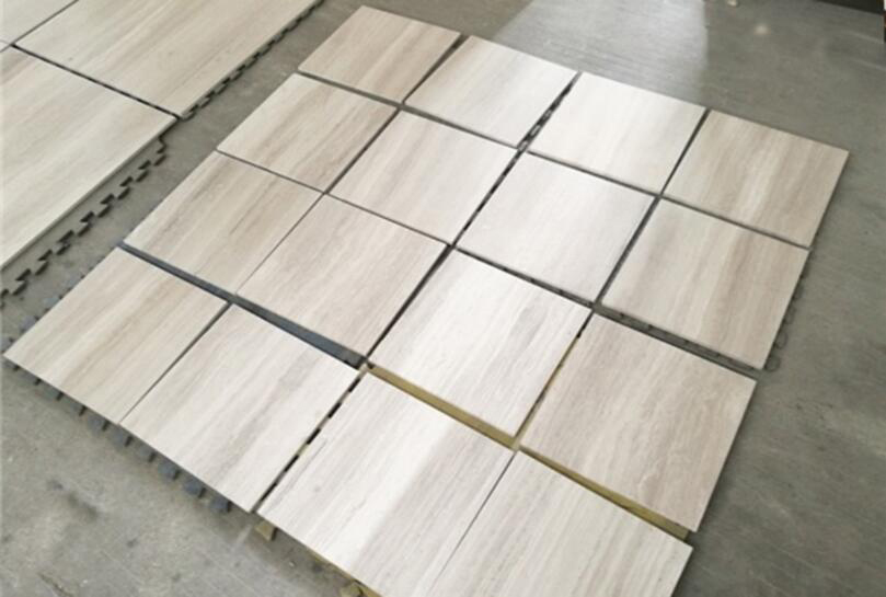 Polished White Wooden Vain Marble Flooring Tiles