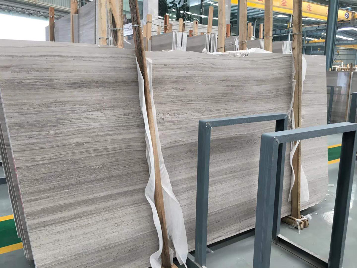 Polished Wooden Marble Slabs Grey Marble Slabs