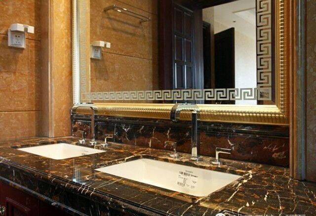 Portoro Flower Black Gold Double Sinks Marble Vanity Tops