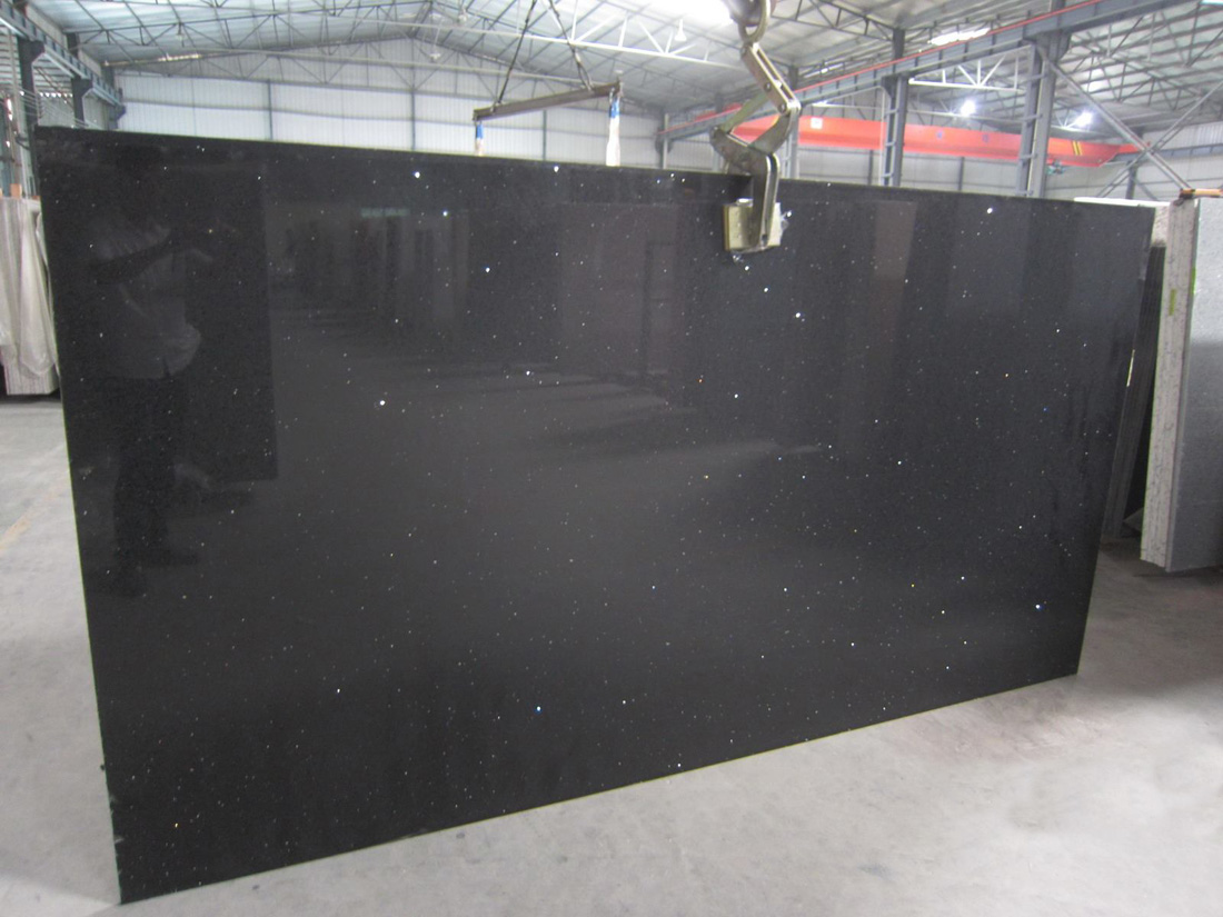 Pure Black Quartz Slab Artificial Stone Slabs