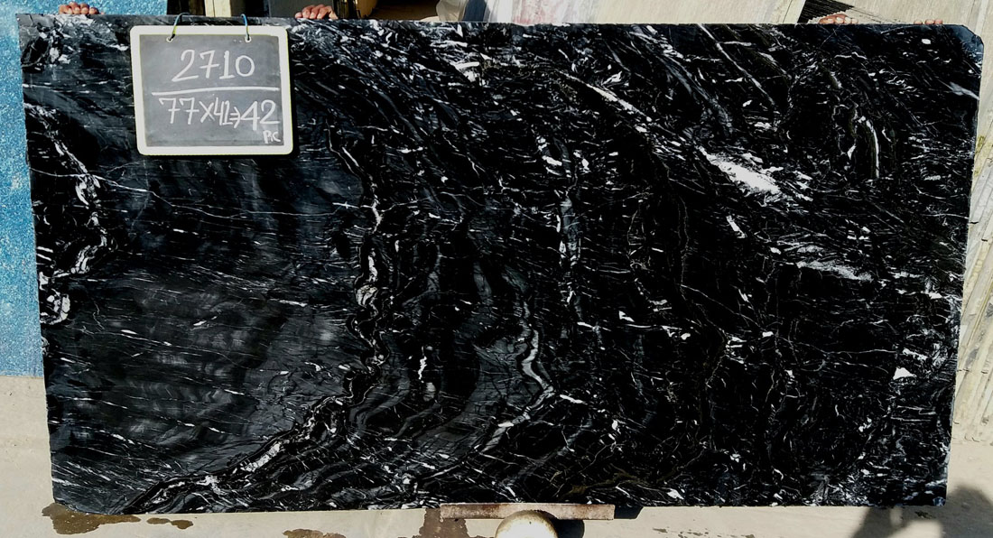 RJ Black Marble Black Polished Marble Slabs