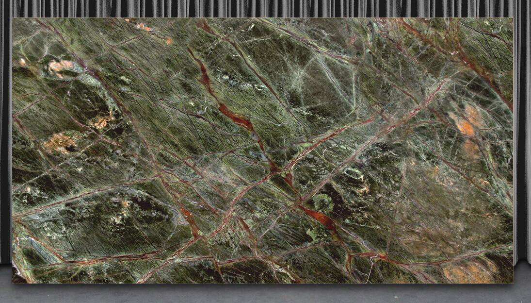 Rain Forest Green Marble Polished Green Stone Slabs