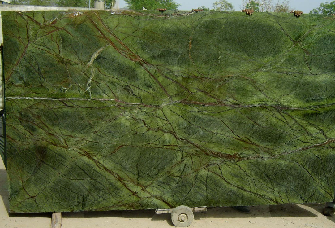 Rain Forest Green Marble Slabs India Green Polished Stone Slabs