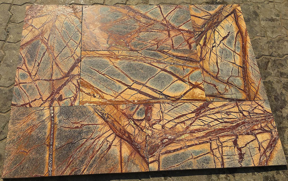 Rainforest Brown Leather Finished Marble Stone Tiles