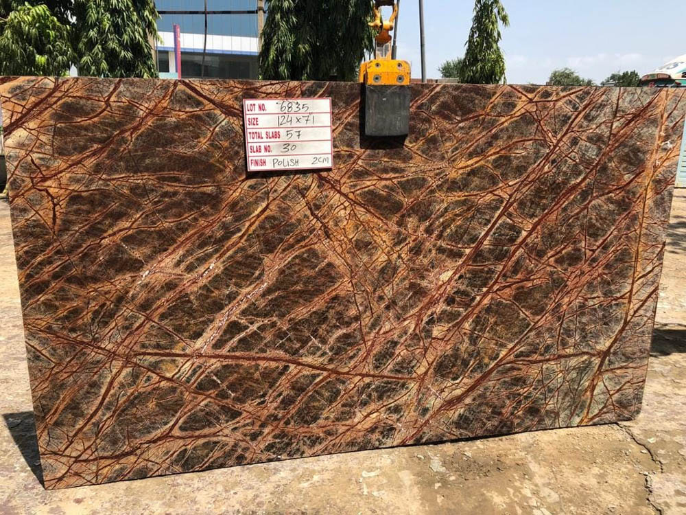 Rainforest Brown Marble Slab With High Quality