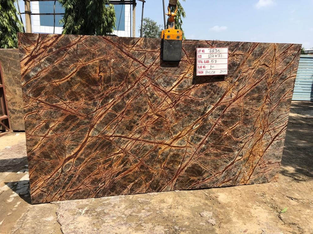 Rainforest Brown Slab Indian Brown Marble Slabs