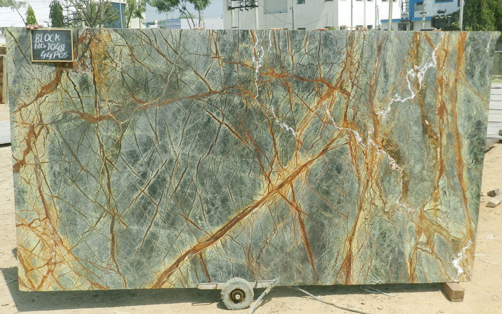 Rainforest Green Slabs Indian Marble Polished Slabs
