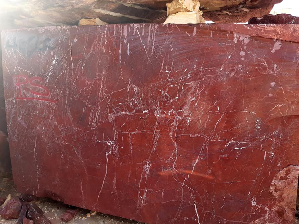 Red Jasper Marble Blocks from Egypt Quarry