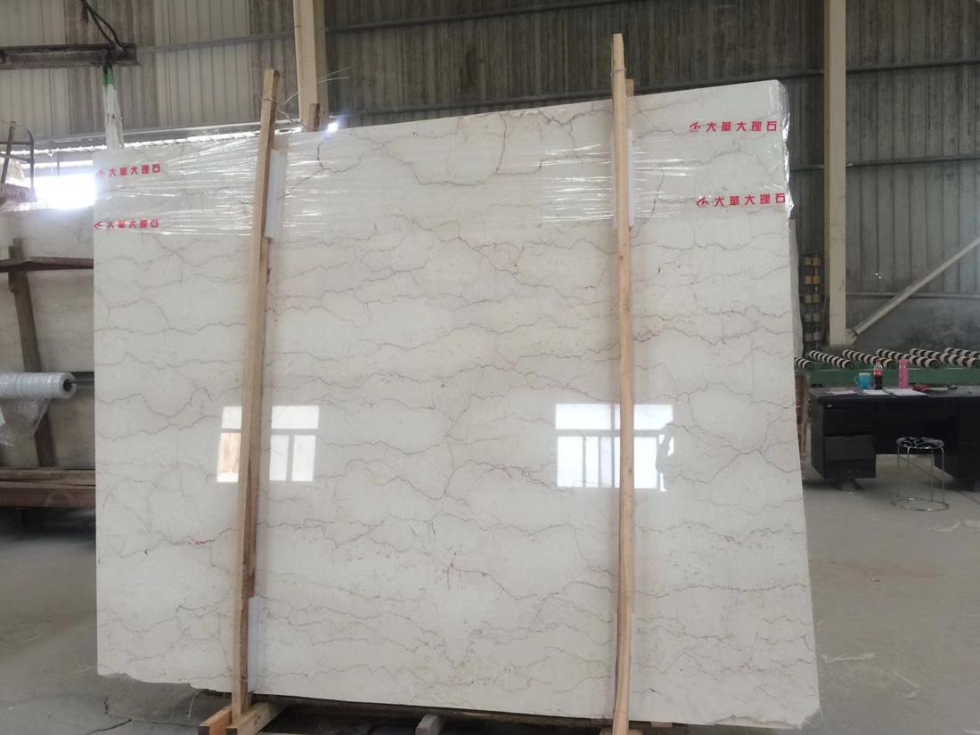 Red Line Beige Marble Slabs