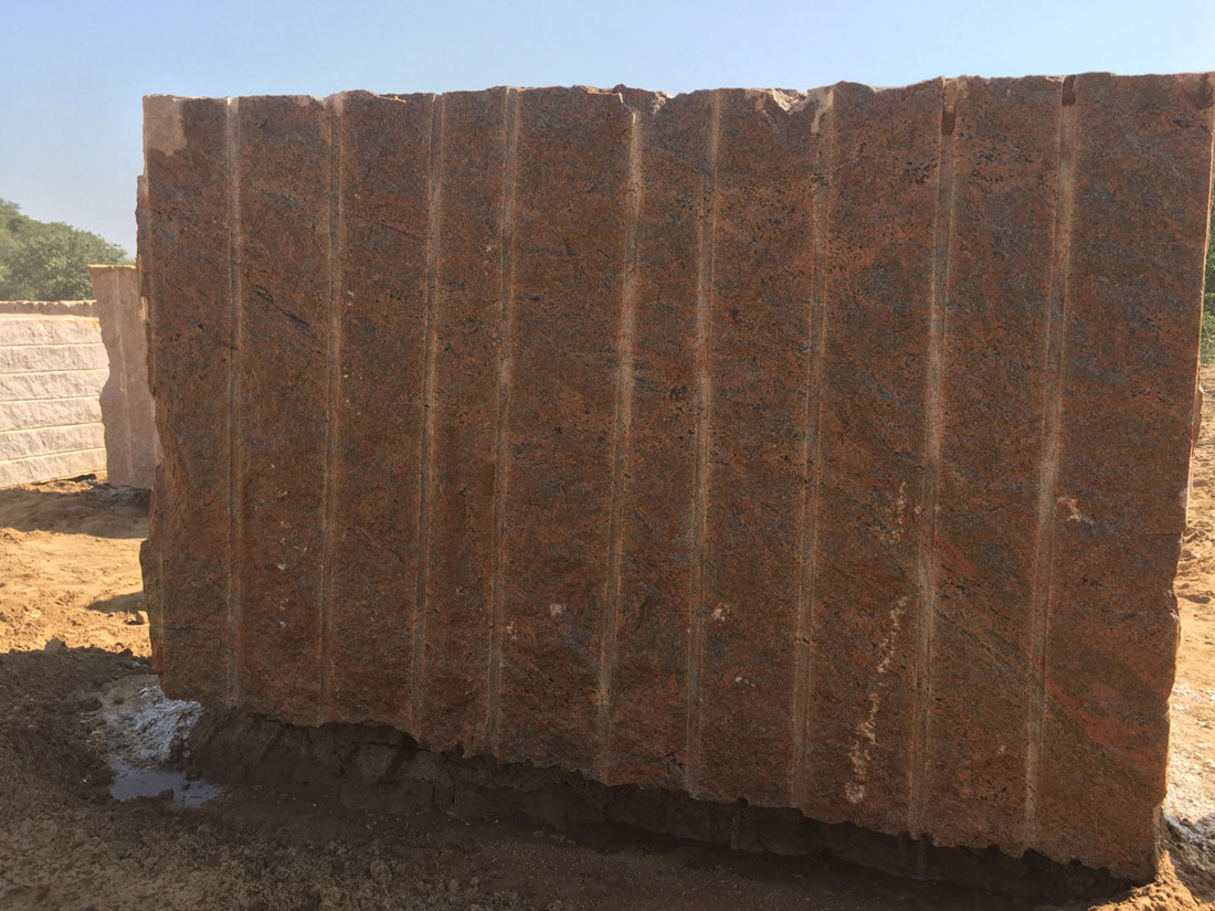 Red Multicolour Granite Stone Blocks Natural Granite Blocks