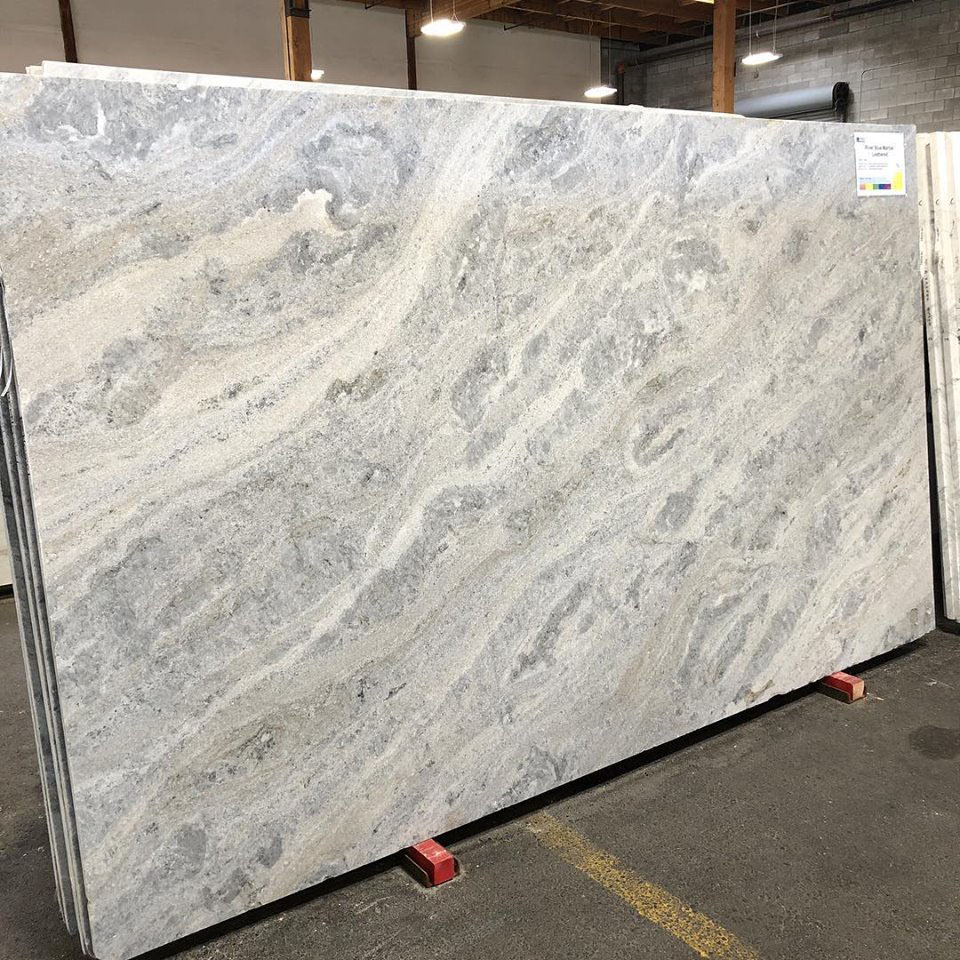 River Blue Leathered Marble Slabs