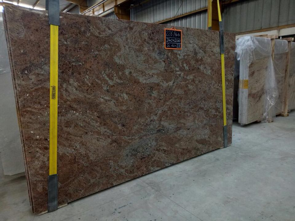Rosewood Granite Polished Brown Granite Slabs from India
